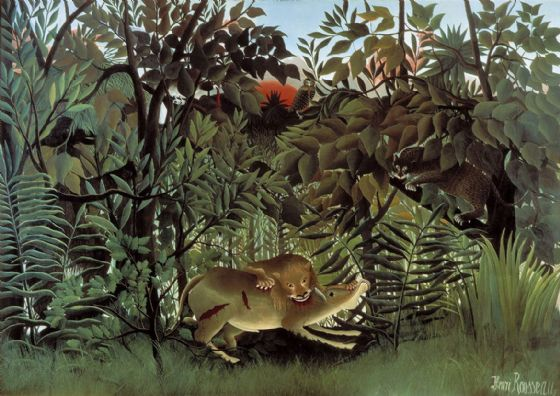 Rousseau, Henri: The Hungry Lion Throws Itself on the Antelope. Fine Art Print/Poster. Sizes: A4/A3/A2/A1 (001230)